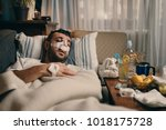 young man recovering form... | Shutterstock . vector #1018175728
