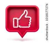 set thumbs up icon on a red pin ... | Shutterstock . vector #1018177276