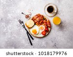 traditional english breakfast... | Shutterstock . vector #1018179976