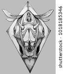 illustration of an flying rhino ... | Shutterstock . vector #1018185346