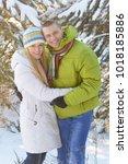 family in winter forest  | Shutterstock . vector #1018185886