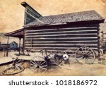 ghost town  cody  wyoming ... | Shutterstock . vector #1018186972