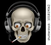Skull with headphones with a cigarette. Illustration on black background - stock vector