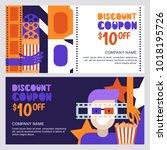 vector cinema discount coupon... | Shutterstock .eps vector #1018195726