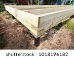 wooden frame house foundation... | Shutterstock . vector #1018196182
