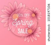 hello spring text  floral... | Shutterstock .eps vector #1018197106