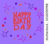 happy birthday caption with...   Shutterstock .eps vector #1018200988