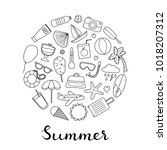 doodle outline summer and... | Shutterstock .eps vector #1018207312