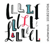 letters l set. different styles.... | Shutterstock .eps vector #1018215436