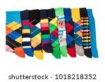 colorful men's socks on white... | Shutterstock . vector #1018218352