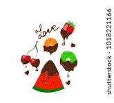fruit in chocolate | Shutterstock .eps vector #1018221166