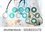 medicine doctor with modern... | Shutterstock . vector #1018221172