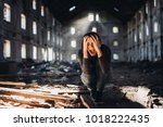 screaming anxious person in... | Shutterstock . vector #1018222435