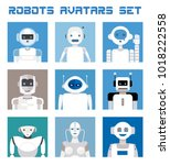 varied set of robots faces and... | Shutterstock .eps vector #1018222558