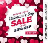 valentines day sale background... | Shutterstock .eps vector #1018226305