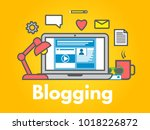 blogging concept on yellow... | Shutterstock .eps vector #1018226872