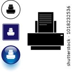 printer symbol sign and button | Shutterstock .eps vector #1018232536