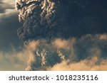 eruption. clubs of smoke and... | Shutterstock . vector #1018235116