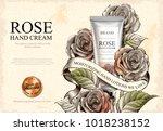 rose hand cream ads  exquisite... | Shutterstock .eps vector #1018238152