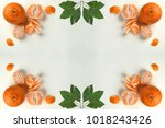 image of oranges and leaves...   Shutterstock . vector #1018243426