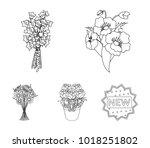 a bouquet of fresh flowers...   Shutterstock .eps vector #1018251802