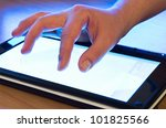 fingers touching screen on... | Shutterstock . vector #101825566