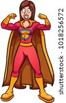cartoon super mom  flexing her... | Shutterstock .eps vector #1018256572