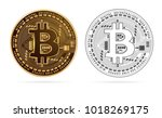bitcoin digital currency golden ... | Shutterstock .eps vector #1018269175