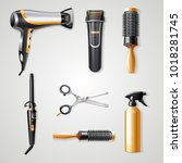 set of hairdresser tools... | Shutterstock .eps vector #1018281745