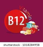 vitamin b12. food sources.... | Shutterstock .eps vector #1018284958