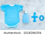 blue baby clothes for little... | Shutterstock . vector #1018286356