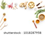 colorful dry spices in bowls...   Shutterstock . vector #1018287958
