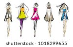 stylish fashion models. pretty... | Shutterstock .eps vector #1018299655