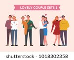 lovely couple character set.... | Shutterstock .eps vector #1018302358