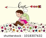 love theme with happy couple... | Shutterstock .eps vector #1018307632