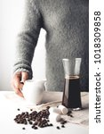 arabica coffee in moka pot on a ... | Shutterstock . vector #1018309858