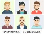 men flat avatars set with... | Shutterstock .eps vector #1018310686