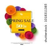 spring sale banner template...   Shutterstock .eps vector #1018311385