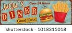 vintage mom's diner metal sign. | Shutterstock .eps vector #1018315018