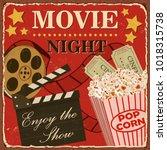 vintage cinema metal sign.  | Shutterstock .eps vector #1018315738