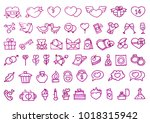 set of 54 valentine's day... | Shutterstock .eps vector #1018315942
