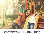 beautiful mother and daughter... | Shutterstock . vector #1018331896
