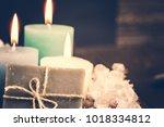 hygiene soap bar with flower... | Shutterstock . vector #1018334812
