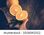 orange fruit. fresh isolated on ... | Shutterstock . vector #1018342312