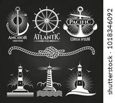 vintage marine nautical logos...   Shutterstock .eps vector #1018346092