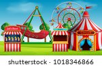 amusement park scene at daytime | Shutterstock . vector #1018346866
