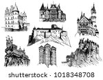 graphical set of  medieval... | Shutterstock .eps vector #1018348708