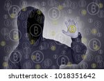 bitcoin hackers on the internet.   Shutterstock . vector #1018351642