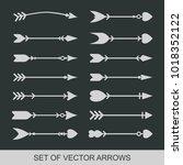 set of black hand drawn arrows... | Shutterstock .eps vector #1018352122