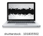 Vector Laptop with Abstract Screen on Grey Gradient Background. Vector EPS 10. - stock vector